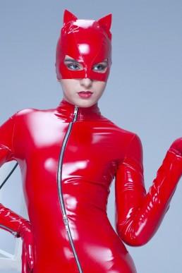 Masque Petit Chat Vinyle Rouge