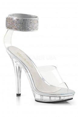 Sandales transparentes bride à strass
